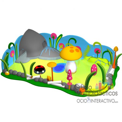 Parque acuático infantil tematizada campo.