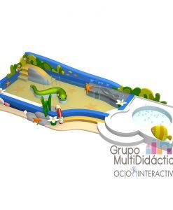 Parque acuático infantil decoración océano.